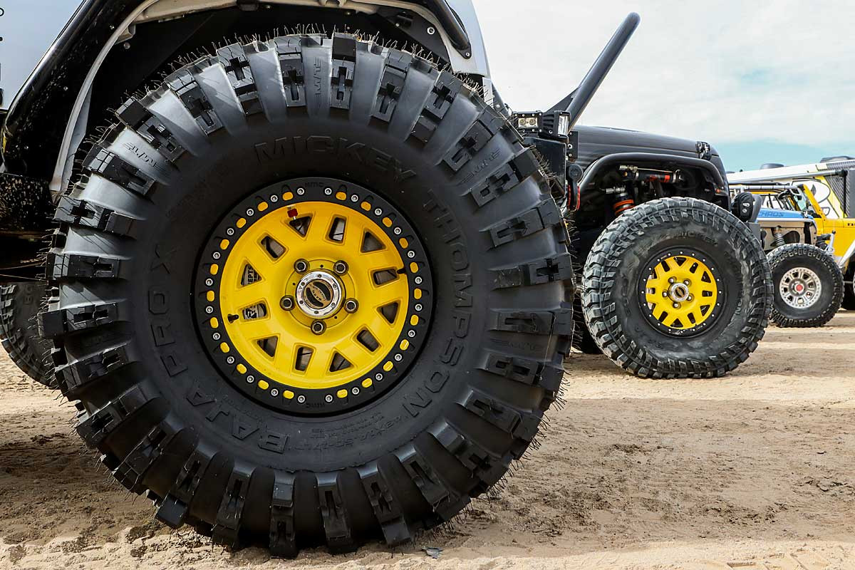 "Close up view of the Mickey Thompson ProX tire on a 17"" KMC wheel"