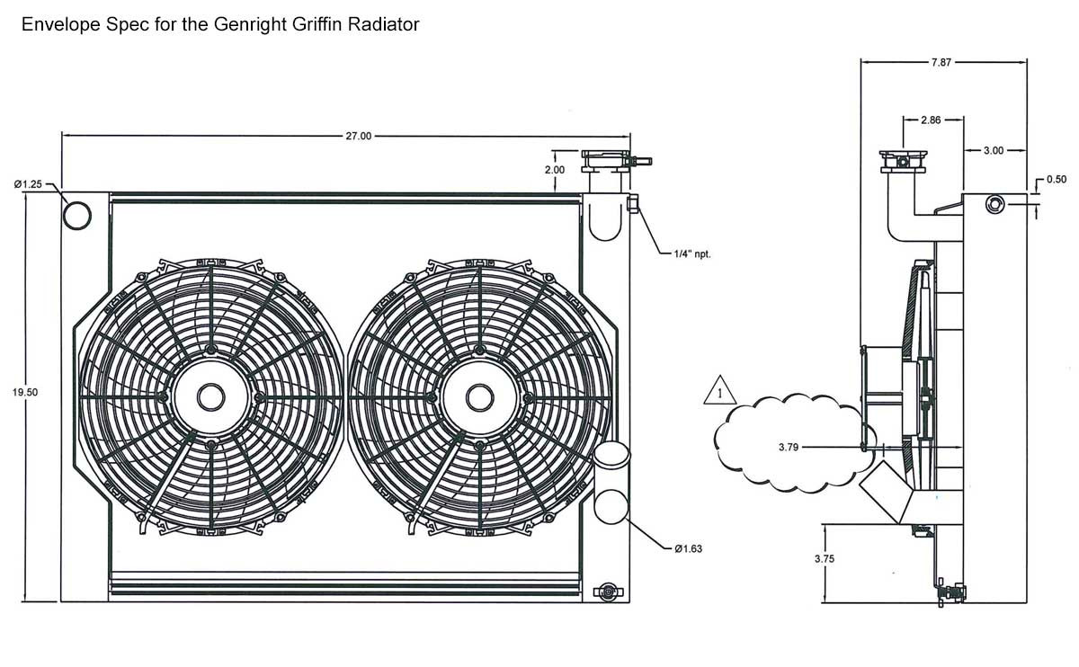Detailed specs of the GenRight Spec Griffin Aluminum Radiator for LS V8 Jeep JK