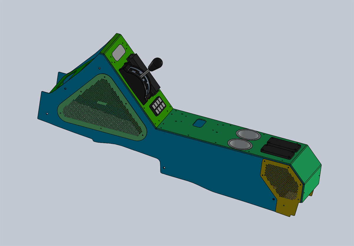 GenRight's aluminum center console is 100% designed in CAD