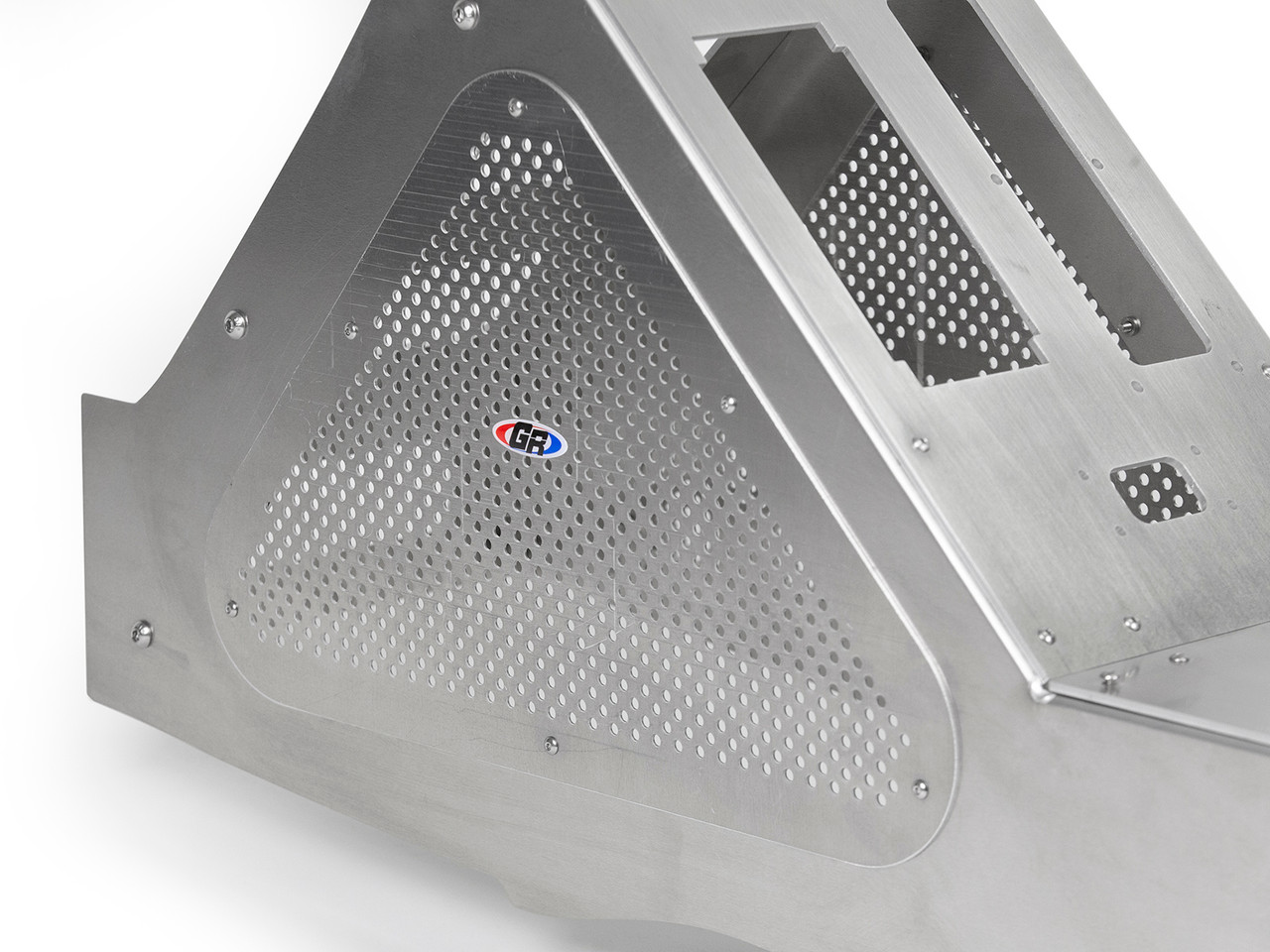Mesh access panels keep your electronics cool.