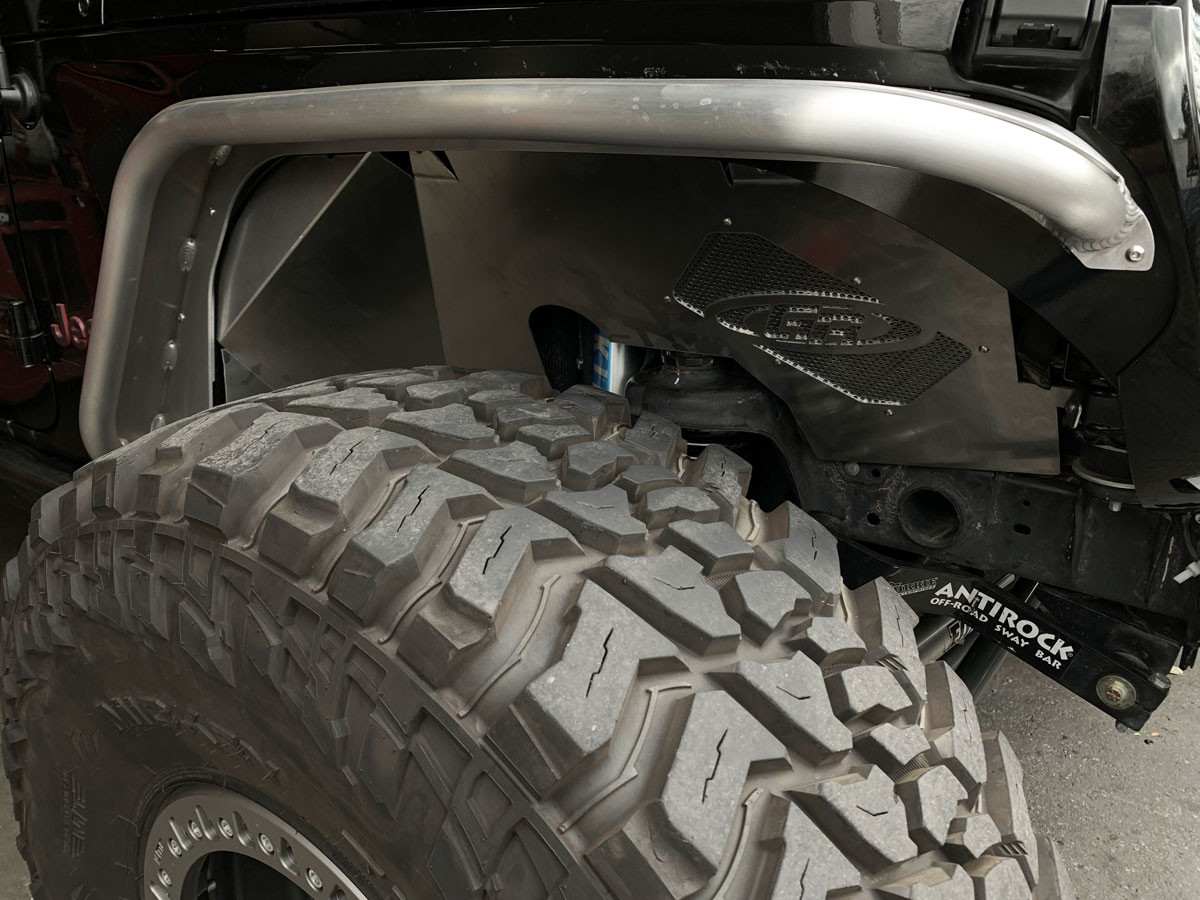 Close up of the GenRight inner fender for the Jeep JL