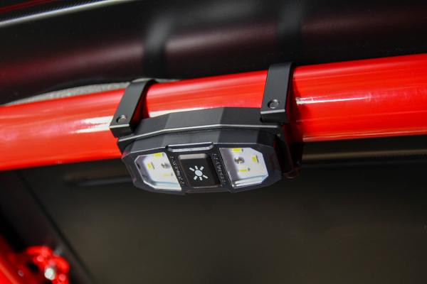 LED Dome Light mounted on a roll cage with billet cage mounts