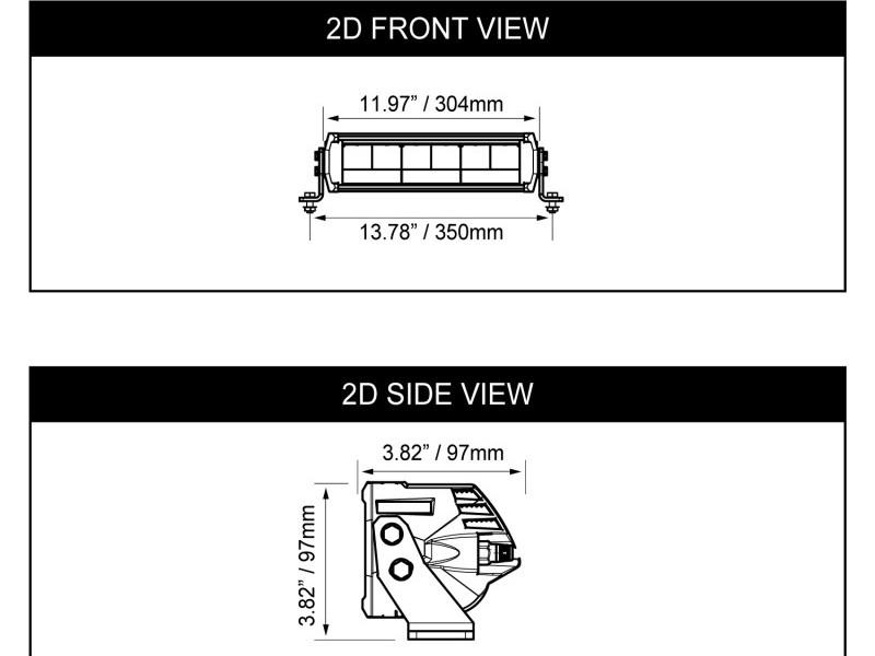 "Dimensions of the 12"" Shocker Light Bar"