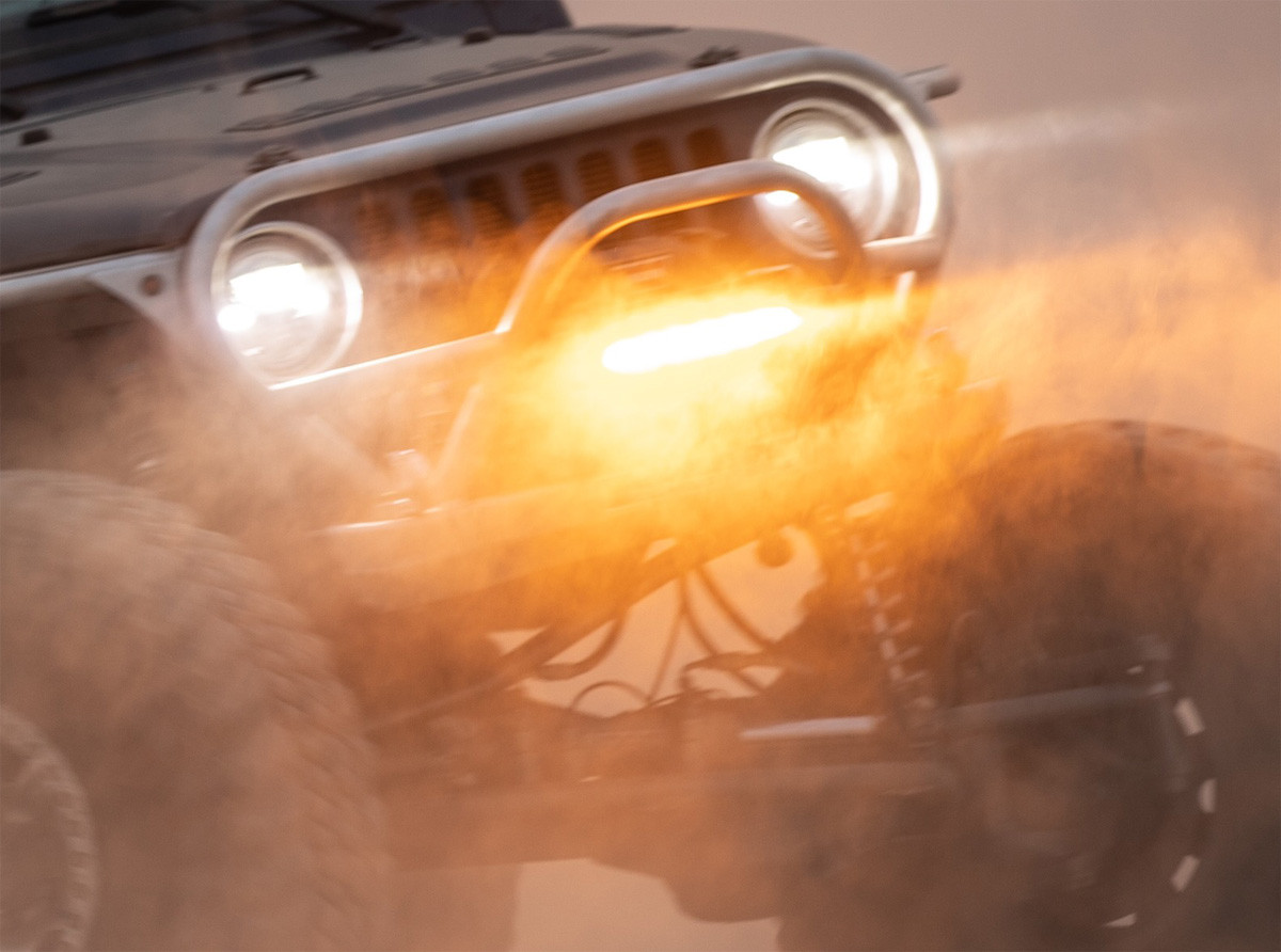 Lower Amber of the Shocker light bar cuts through the dust!
