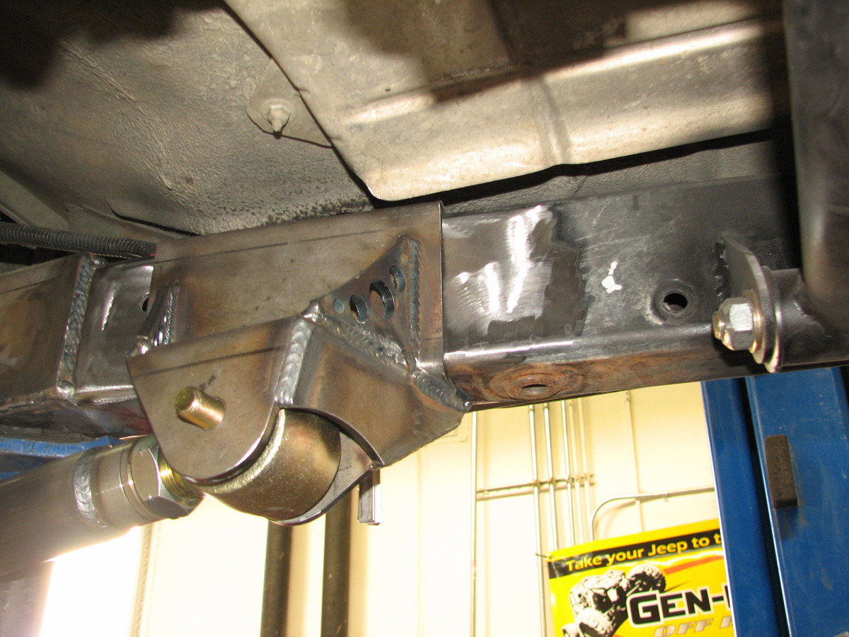 Passenger side tacked into position on a Jeep TJ frame