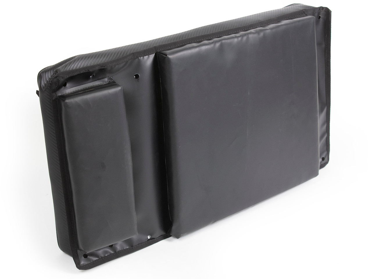 Padded backside to keep contents from banging on the door
