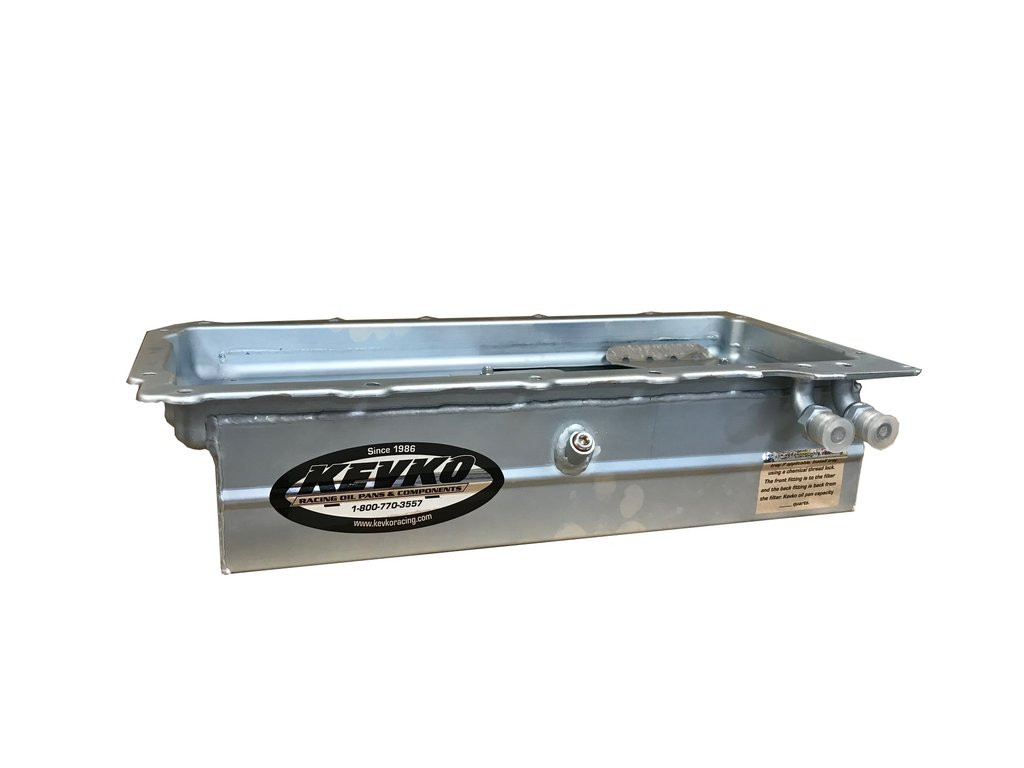 Kevko high capacity oil pan for the Chevy LS Engine with 90 deg oil fittings