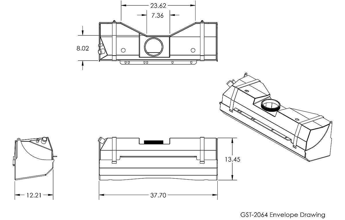 Dimensions for the GenRight GST-2064 TJ / LJ gas tank.