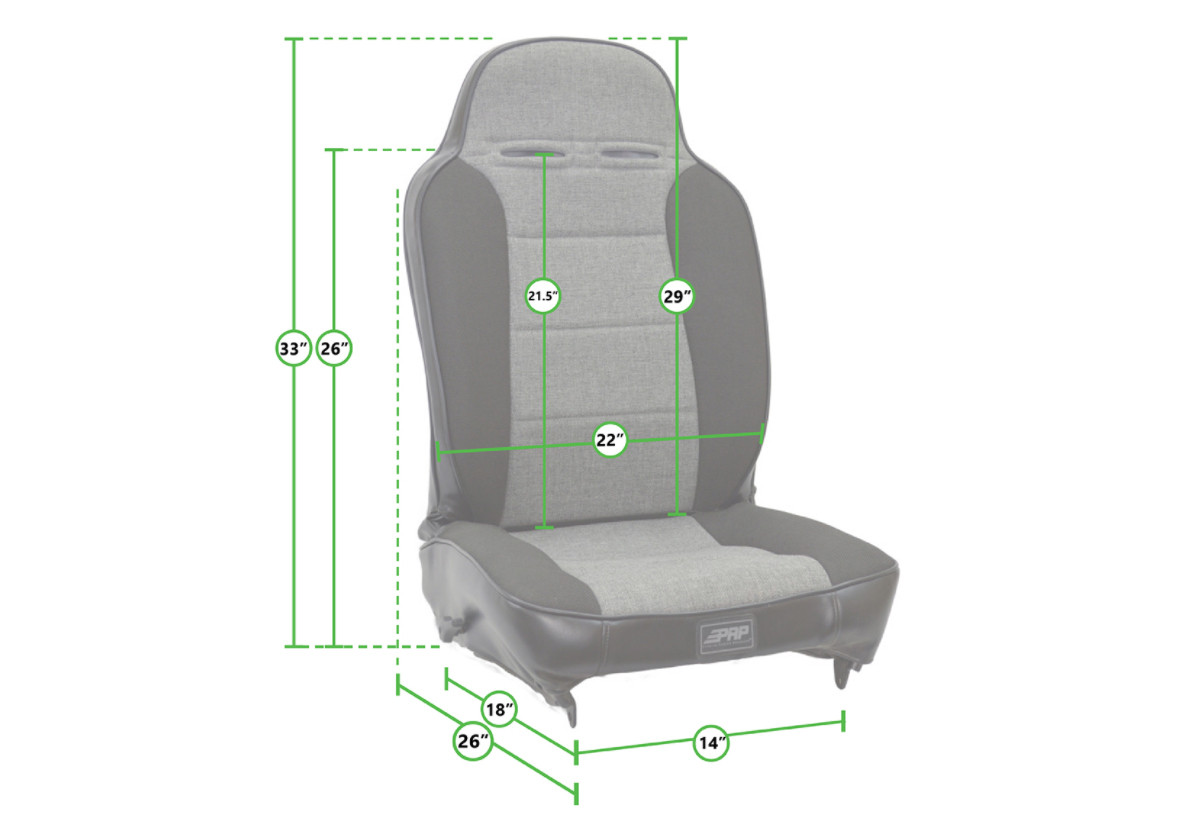 Dimensions of the PRP Comp Elite racing seat