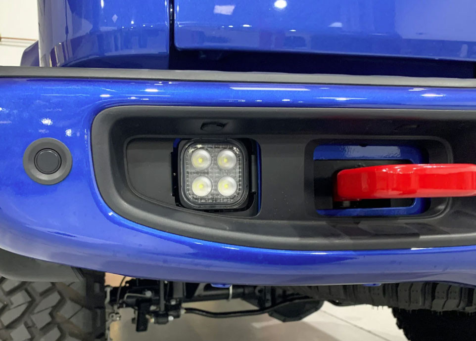 VisionX LED back up light in the Jeep Gladiator rear bumper