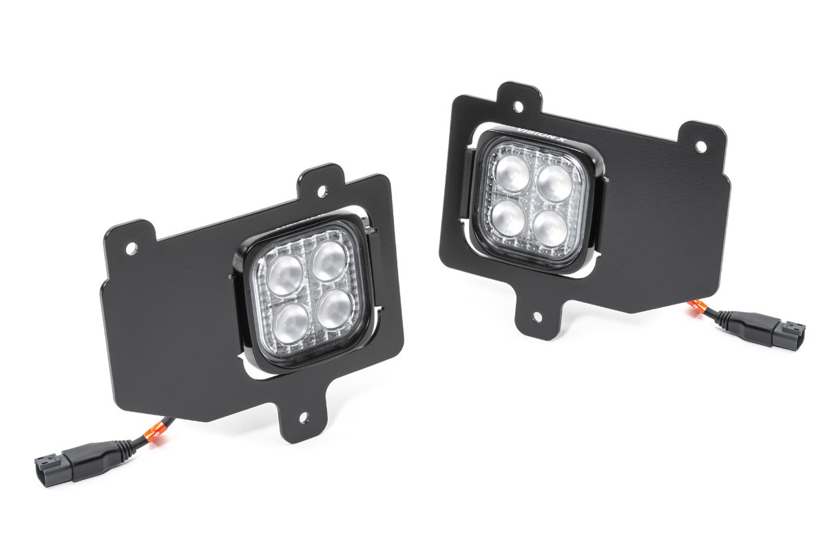 Front view of the VisionX LED back up light kit for the Jeep Gladiator
