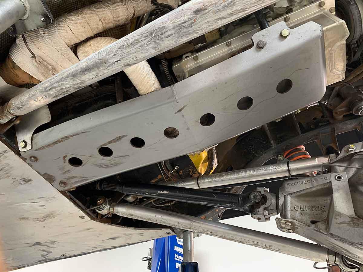 Installed, the GR JK Elite engine skid protects the engine and transmission oil pans