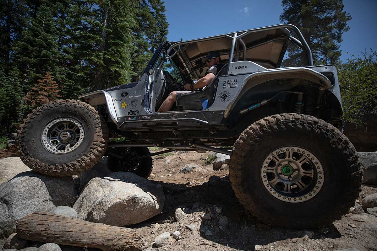 Jeff testing the TJ Tracer kit out on the trail