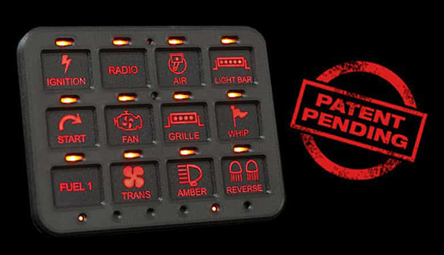 Switch Pros 12 button panel labeled up and illuminated in Red