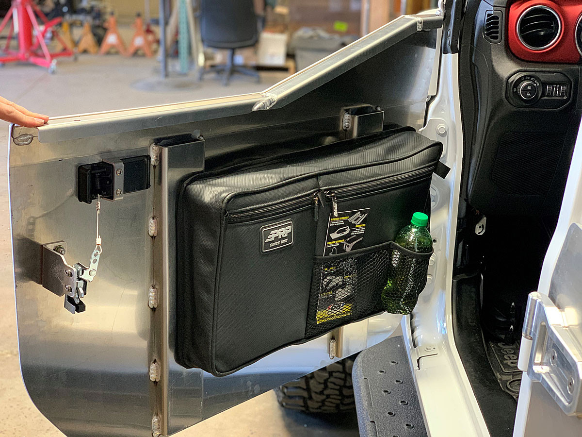 Inside of the JL half door shown here with optional PRP door bag installed