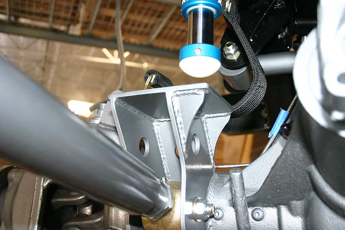 Rear view of the driver side bump stop mount