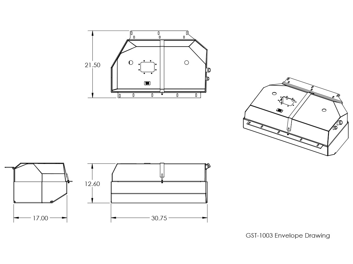 Dimensional drawing for the GenRight fuel tank and skid.