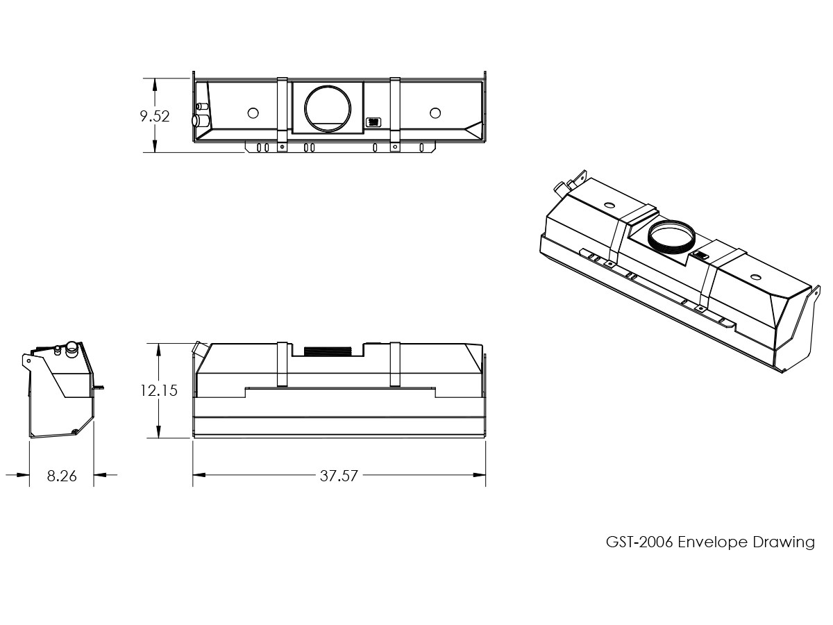 Basic dimensions for the GST-2006 GenRight Jeep TJ gas tank, Alien fuel tank and skid