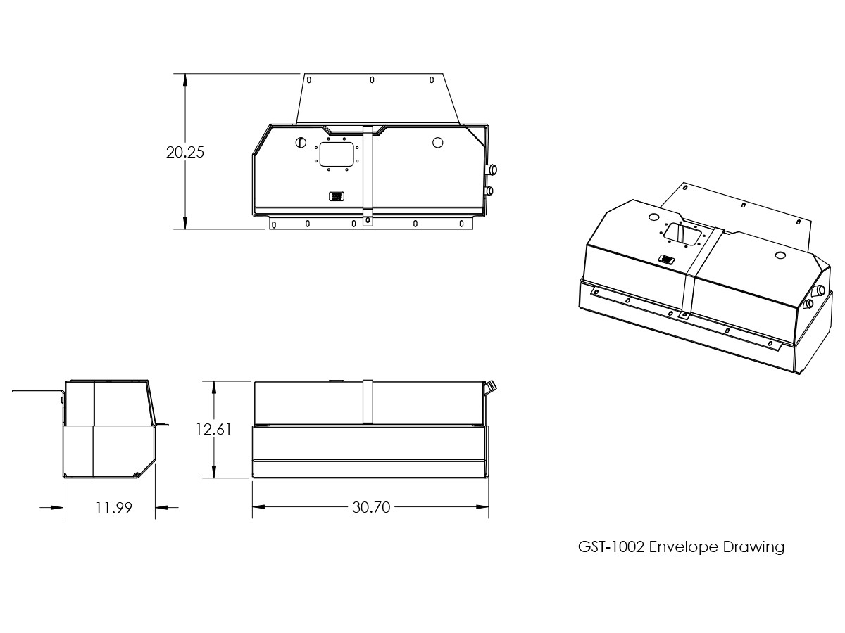 Line Drawings and Dimensions for GenRight Off Road Jeep  CJ-7 Crawler™ EXT Gas Tank (15 Gal)