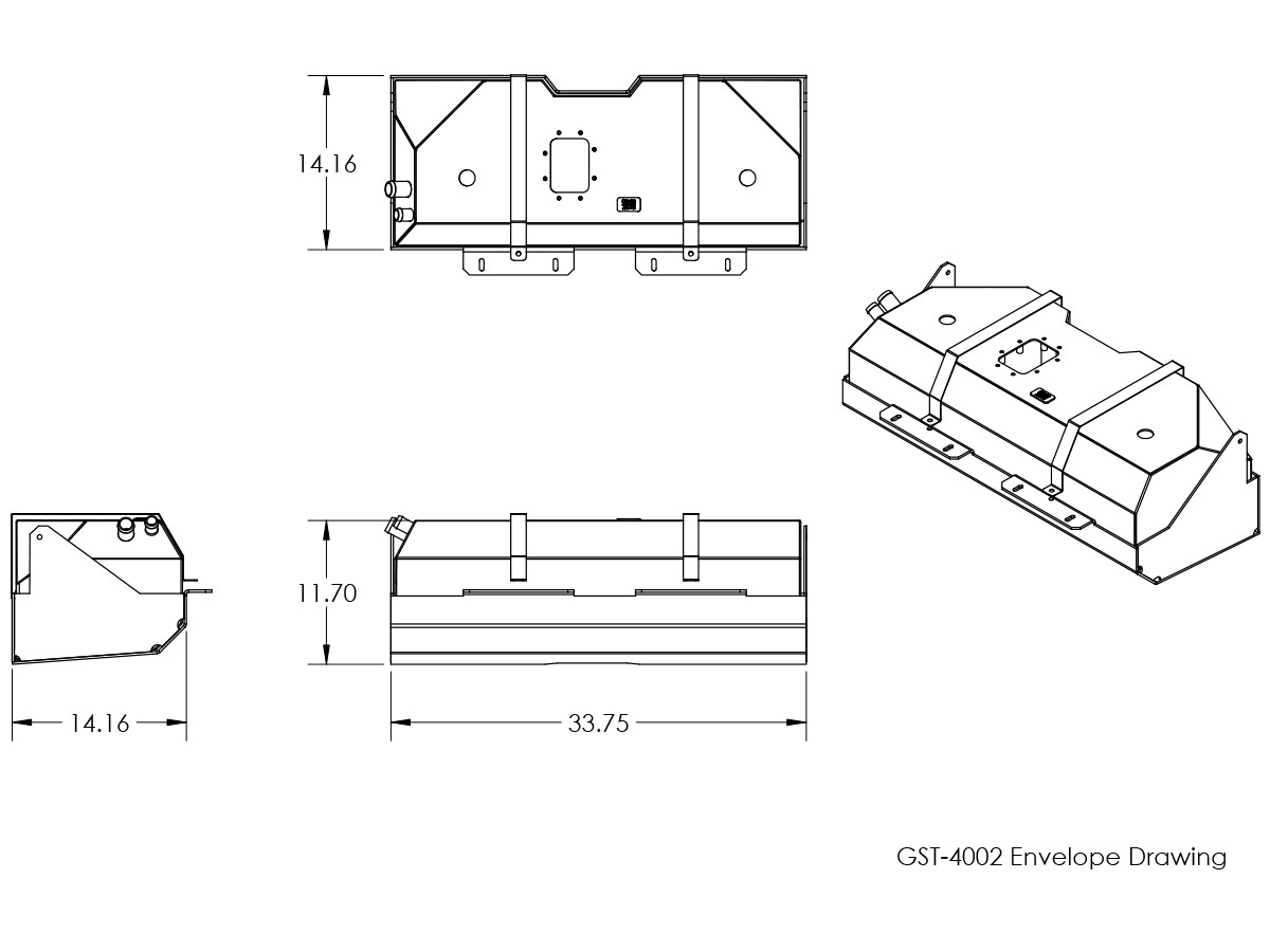 Basic dimensions for GST-4002 GenRight Jeep YJ gas tank, EXT