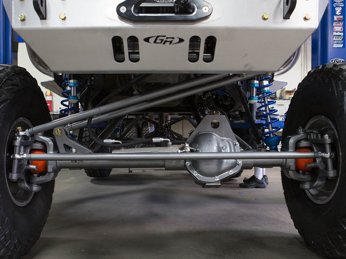 """Here you can see the GenRight CrMo Tie Rod & Drag Link with 7/8"""" Heims and 3/4"""" Bolts installed."""