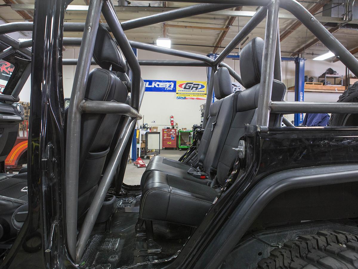 JK (4 Door) Full Roll Cage Kit Rear Seat View, still plenty of room