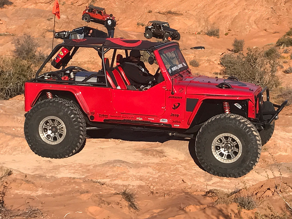 Pictured here in a Stretched LJ on 40's (shown with custom rear shock mounts)