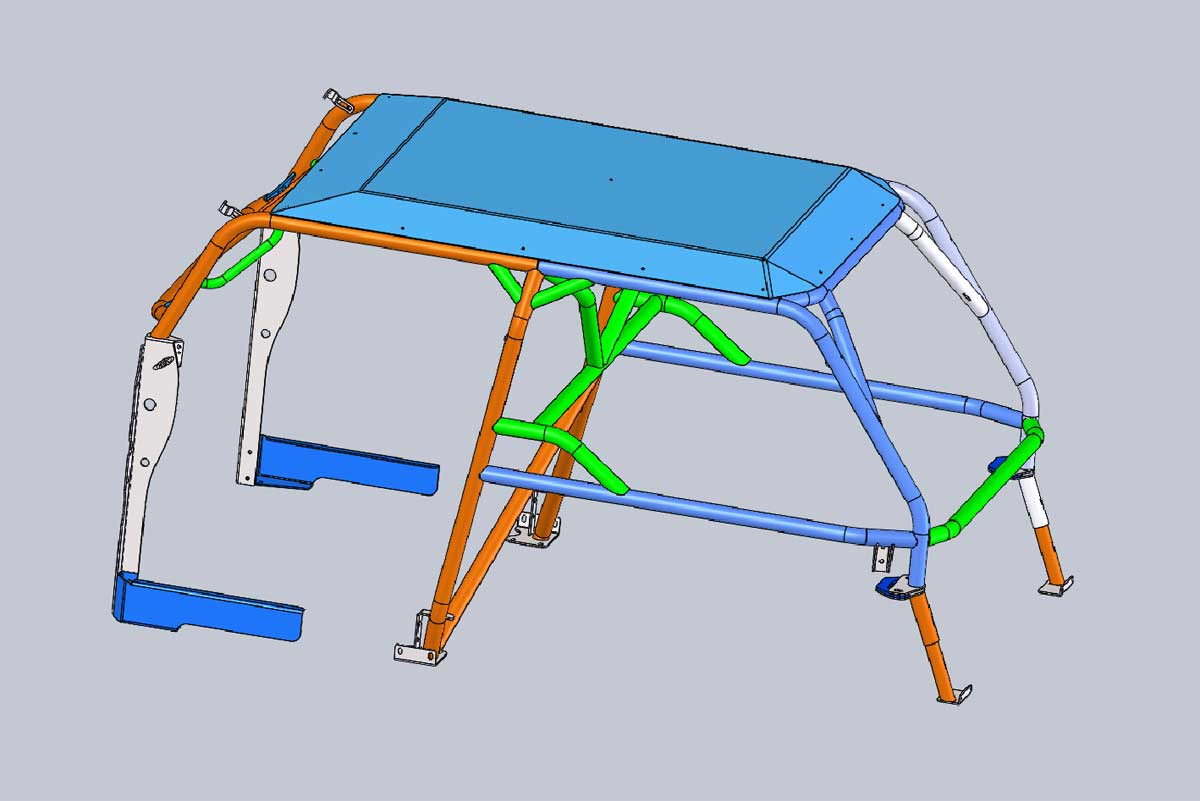 Shown here with A-pillar tie in plates and aluminum roof