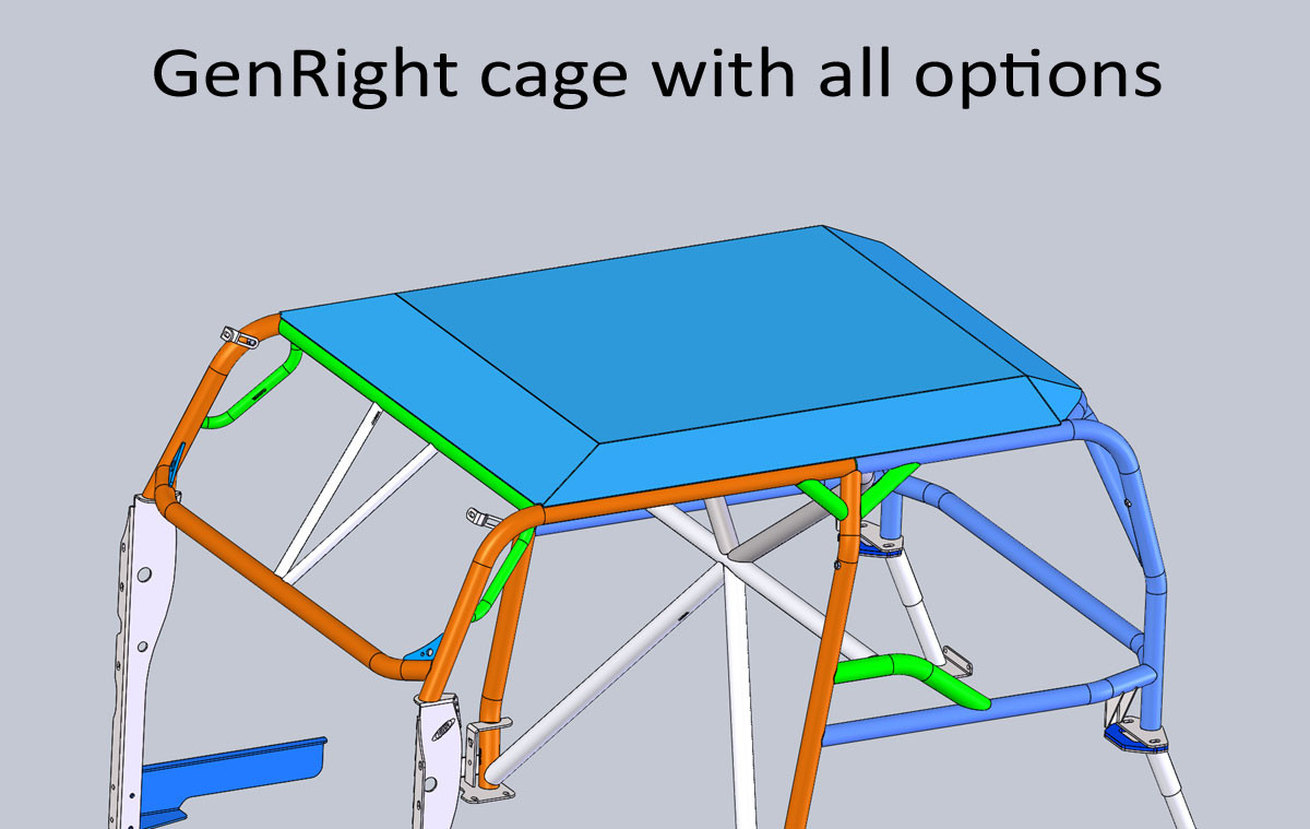 """Here is the 1/8"""" thick aluminum roof on a TJ cage with all options"""