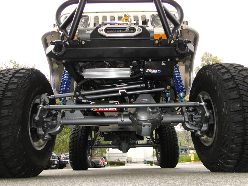 Shown here with GenRight drag link correction kit and coil over shocks