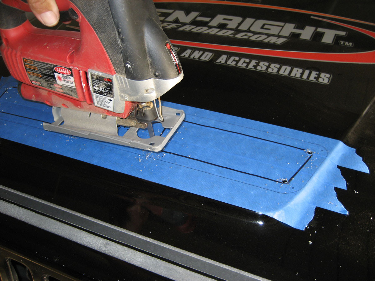 Step 4 - Cut from corner to corner with a jig saw with metal cutting blade