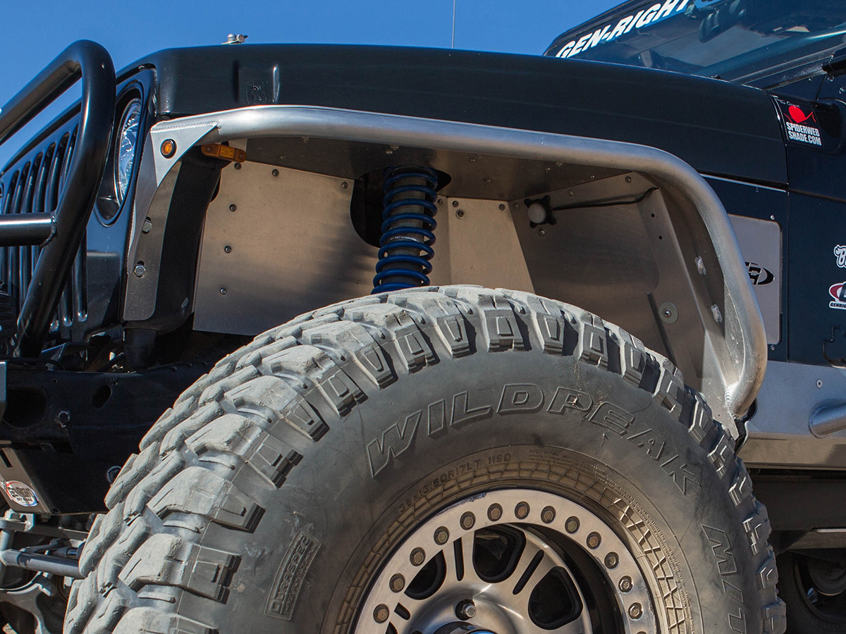 Shown here with standard height GenRight tube fenders and coil over shocks