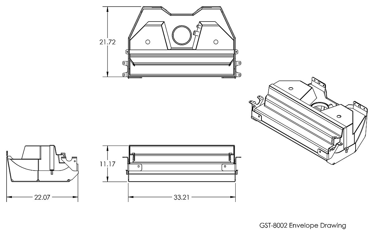 Basic tank and skid plate dimensions for the GST-8202-2
