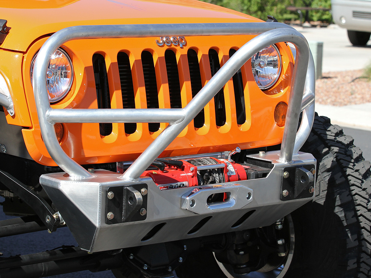 JK Stinger/Grill Guard Front Bumper - Aluminum (Installed)