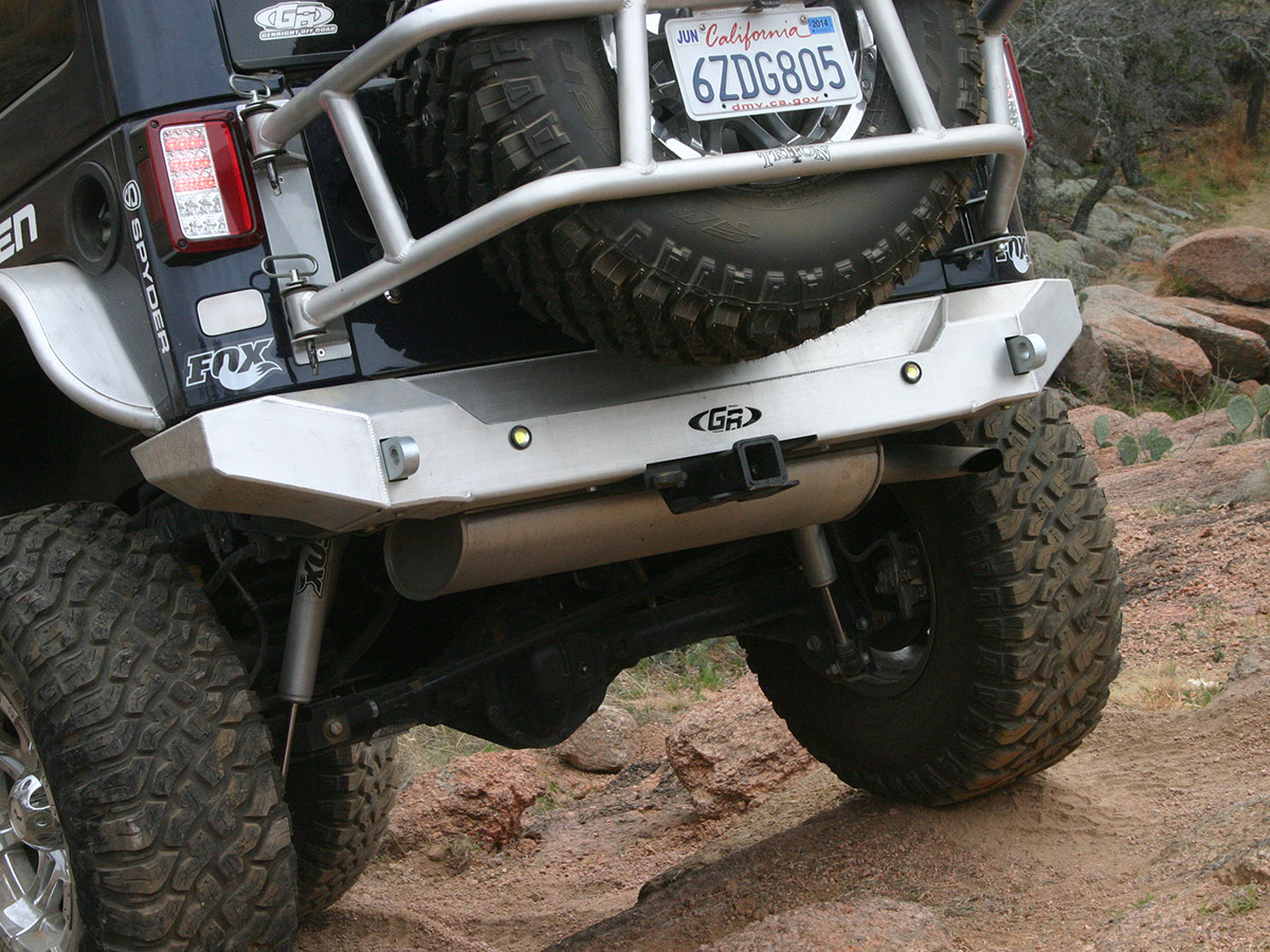 "GR Aluminum Jeep JK Rear Bumper can be used with factory 2"" receiver hitch"