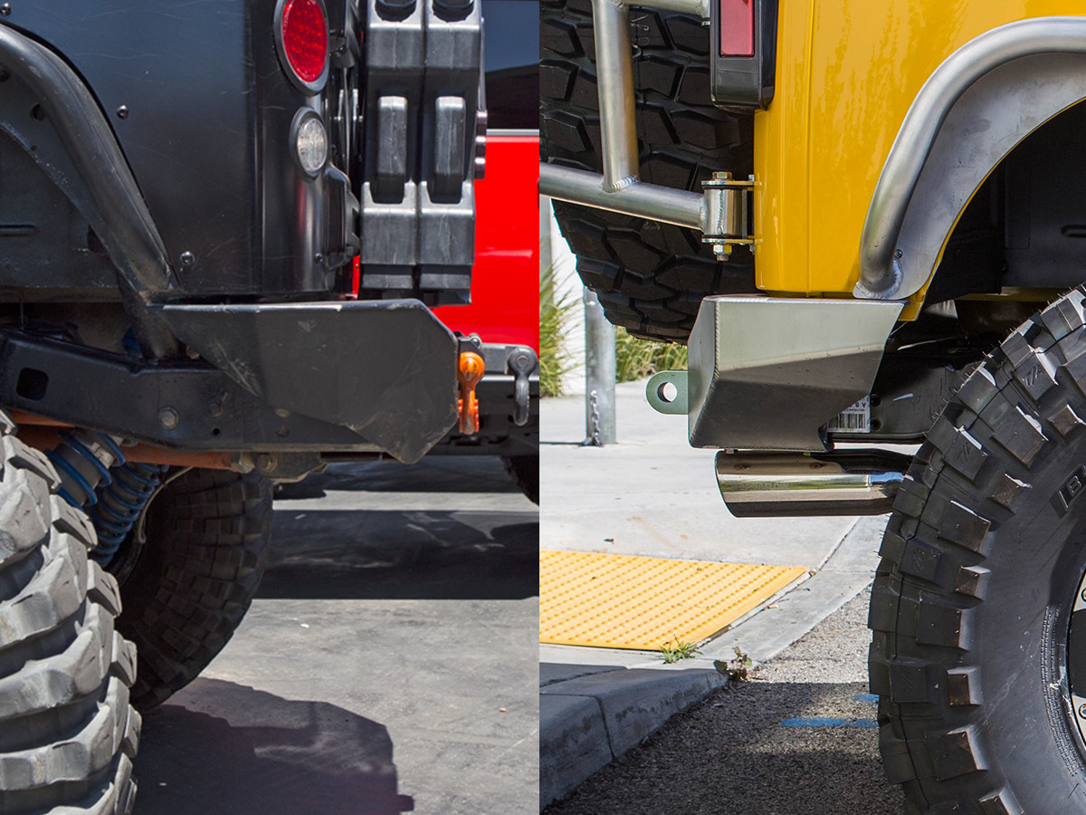 Left - Typical rear bumper protrusion; Right - GenRight rear bumper, tight to the frame