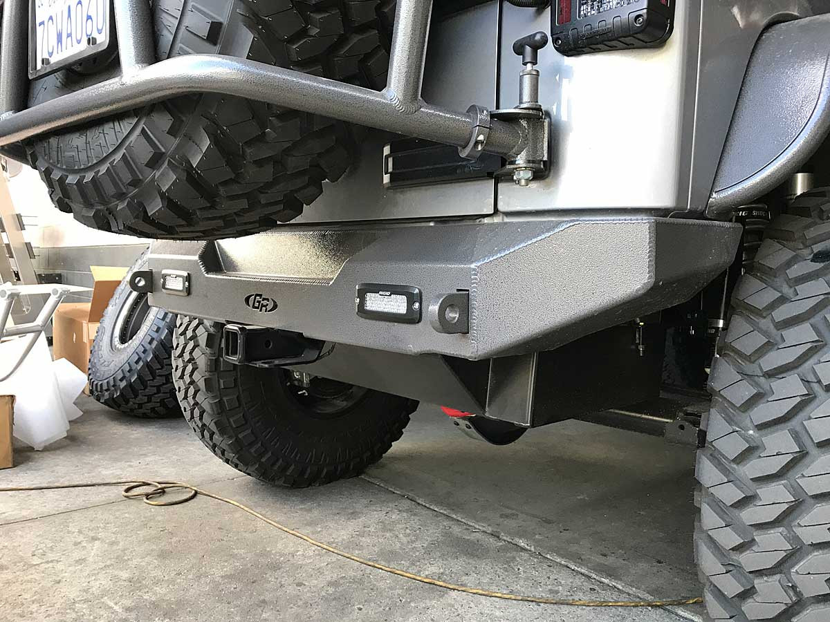 Here is the GenRight rear bumper with rectangular Rigid lights