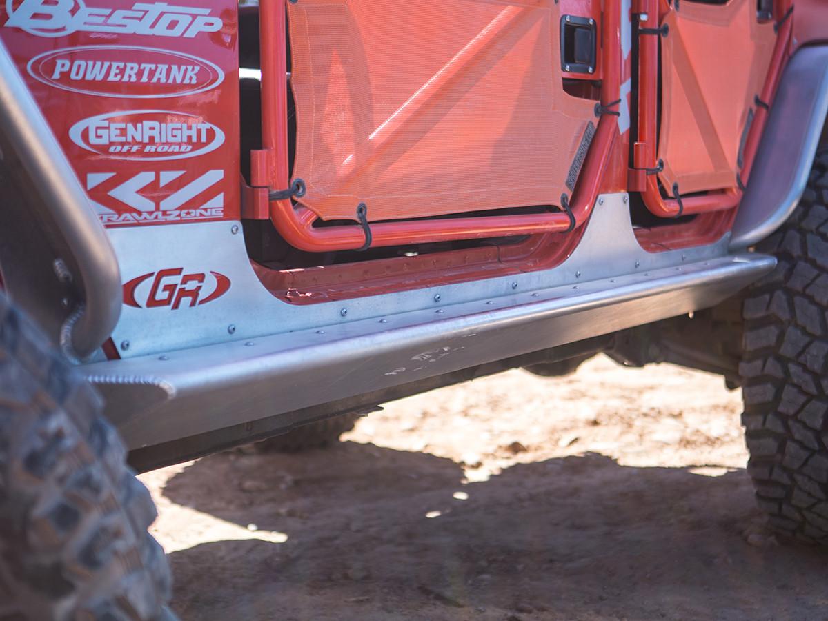 GenRight 4 Door Jeep JK Rocker Guards - Aluminum