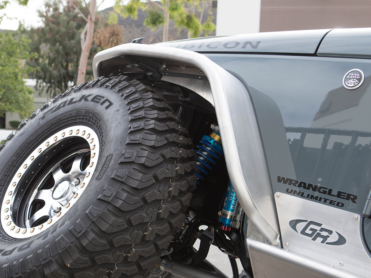 "JK 4"" Flare Front Tube Fenders - Aluminum - Rear View"