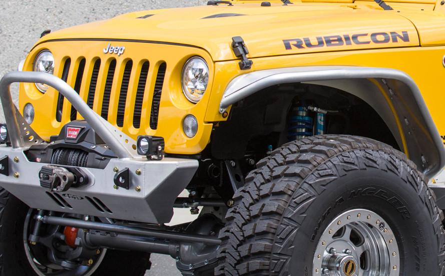 The LED side marker light cleanly mounts inside the inner fender on a Jeep JK