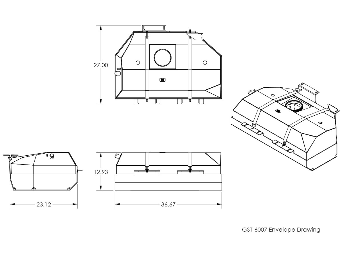Basic dimensions for the GST-6007 GenRight Safari Jeep LJ gas tank and skid plate