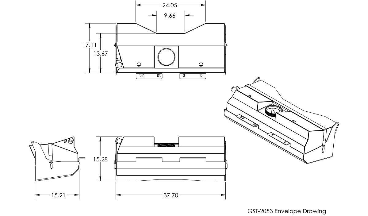 TJ/LJ Crawler™ COMP Gas Tank & Skid Plate (23 Gal) Dimensions