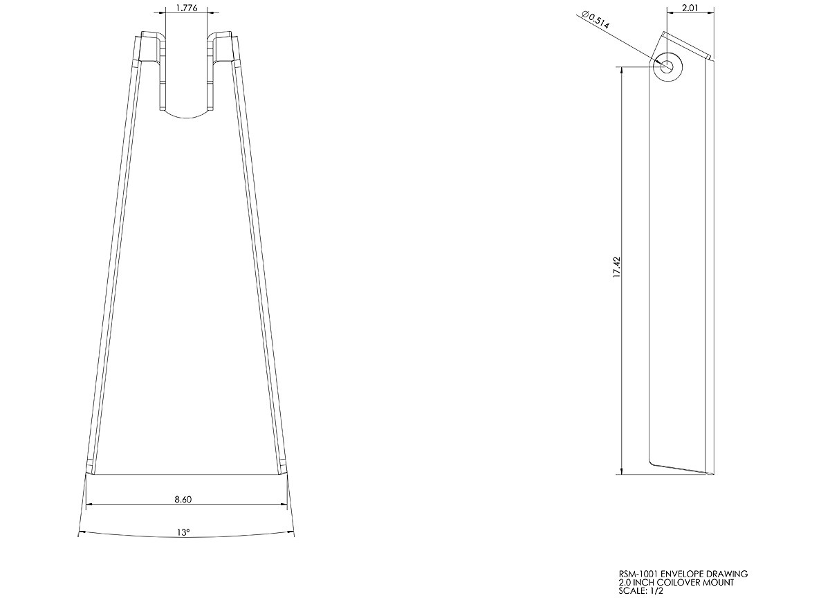 """Dimensions for the GenRight 2.0"""" shock tower"""