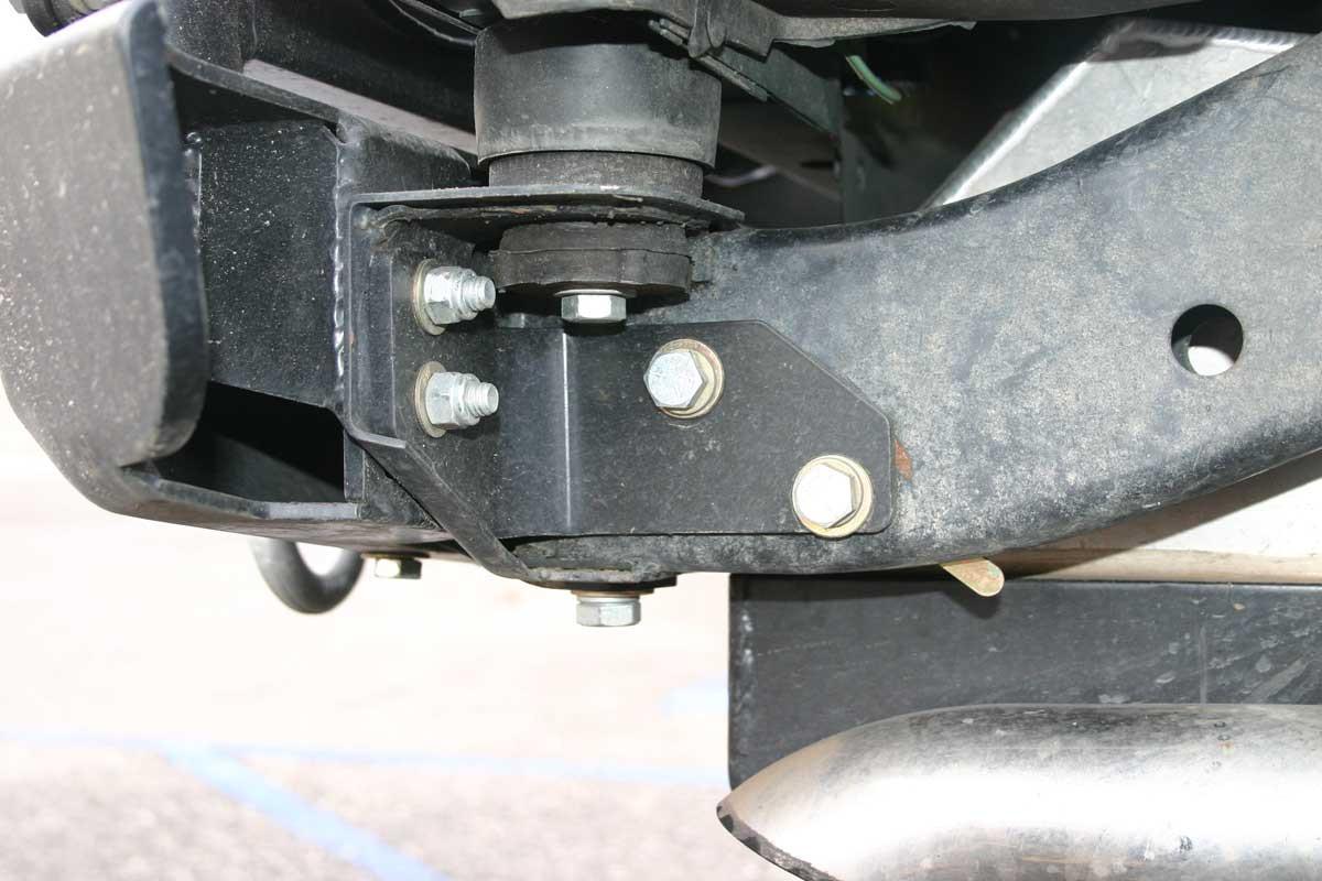 RBB-1100 installed on a Jeep to reinforce rear cross member/bumper mounts