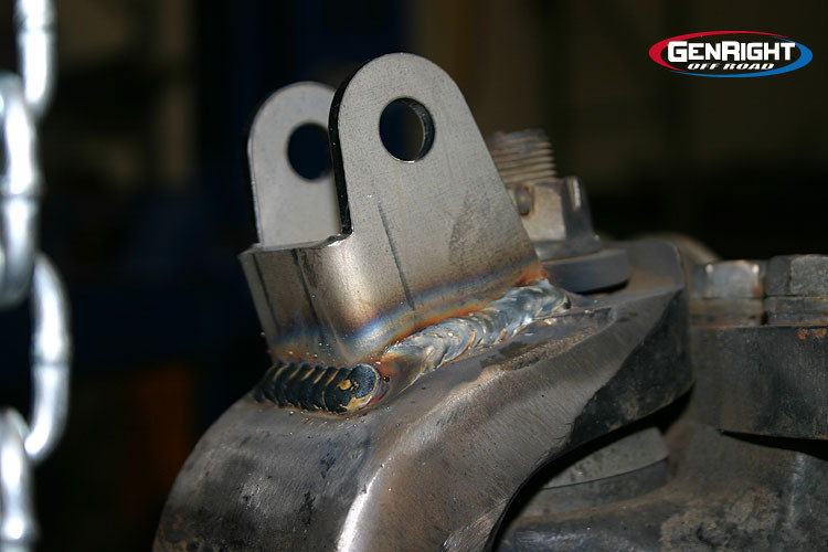 Shown here welded onto an axle (knuckle).