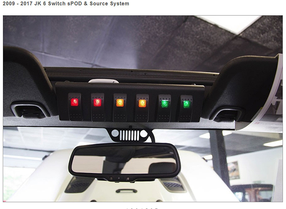 6 Switch Panel for a 2009 - 2018 Jeep Wrangler JK