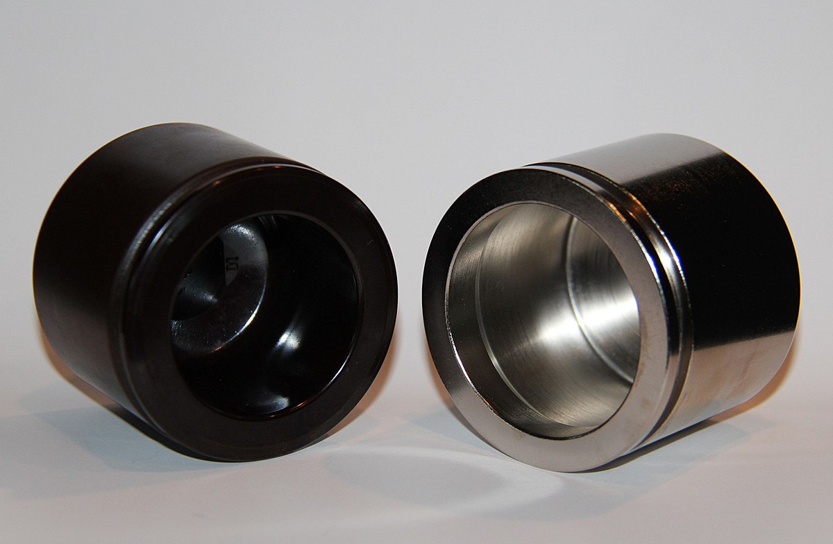 Factory piston on left and TBM nickle plated on right