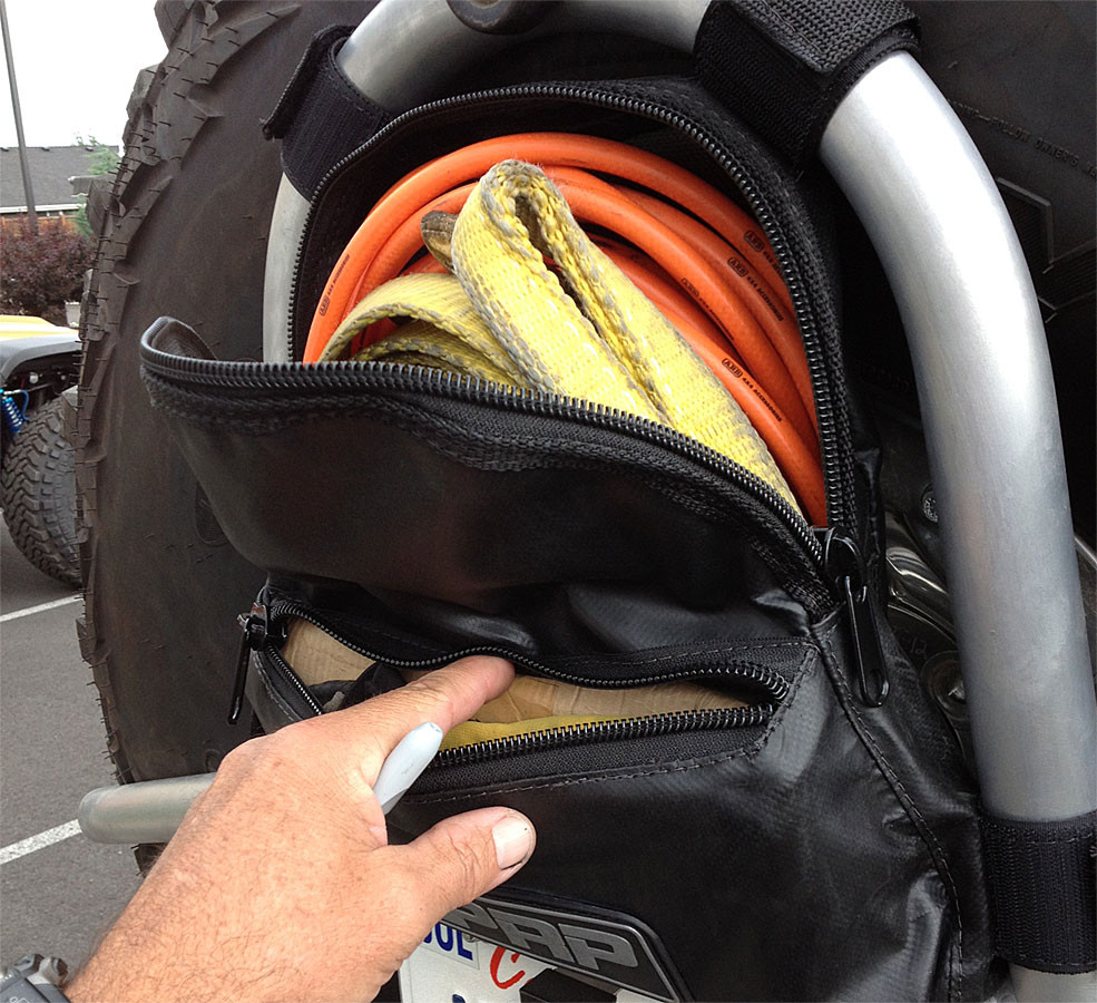 We were able to store the essential trail recovery gear in our PRP tire carrier bag.