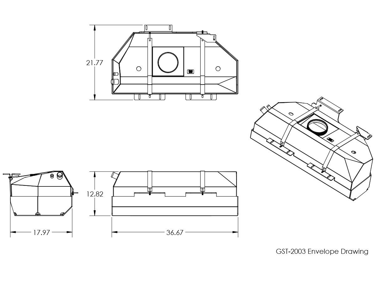 Basic dimensions for the GST-2003 GenRight Jeep TJ or LJ gas tank and skid plate