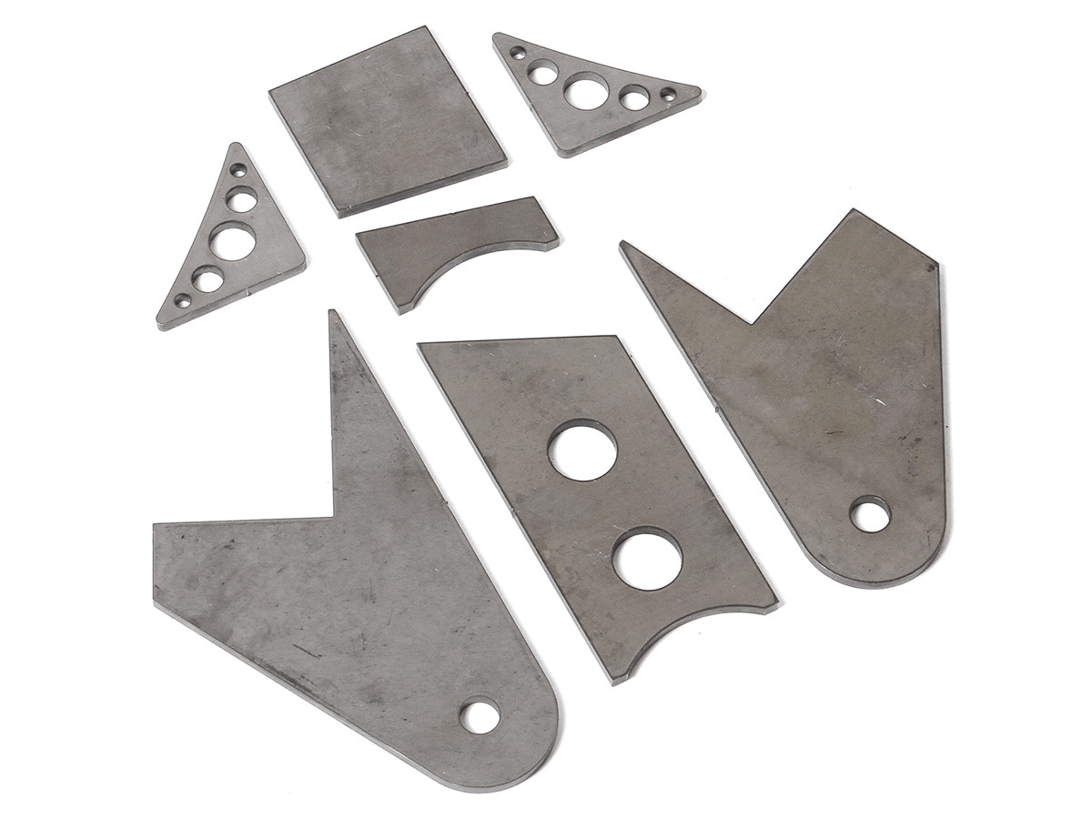 GenRight's TJ / LJ Frame Side Trac bar mount pieces as supplied in the kit.